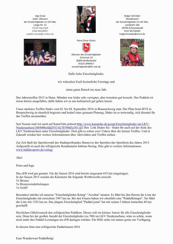 Weihnachtsrundschreiben an alle Einzelmitglieder des LKV-Niedersachsen 2015